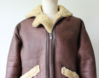 "Vintage 1980s 80s Douglas brown sheepskin shearling B-3 style bomber flight jacket rockabilly aviator 46"" chest reproduction repro"