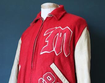 "Vintage 1960s 60s Logan Knitting Mills red cream wool leather varsity jacket 48"" chest chenille patch Talon zipper rockabilly Ivy League"