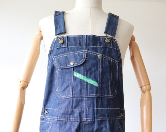 "Vintage deadstock Key Imperial indigo denim dungarees overalls work workwear chore triple stitched 36"" x 33"" rockabilly"