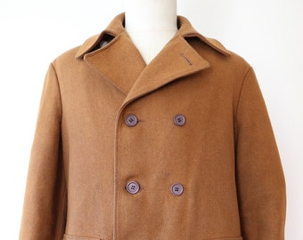 "Vintage 1960s 60s brown wool double breasted overcoat coat Ivy League style mod his sportswear 46"" chest"