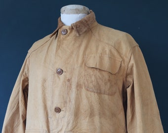 """Vintage 1940s 40s Drybak American tan brown duck cotton canvas hunting shooting utility jacket 48"""" chest work workwear chore"""