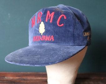 Vintage 1980s 80s NRMC Okinawa Japan tour souvenir snap back baseball cap veteran camp Kuwae USN US Navy