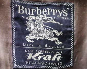 "Vintage 1970s 70s 1980s 80s Burberry Prorsum Burberrys grey wool tweed overcoat coat 50"" chest made in England"