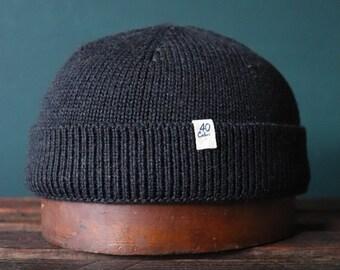 40 Colori 100% wool fisherman's beanie hat watch cap charcoal grey