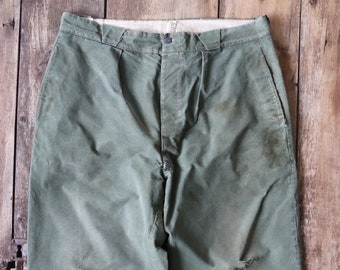 """Vintage 1950s 50s french green army field pants trousers military utility P-41 36"""" x 27"""" work workwear chore"""