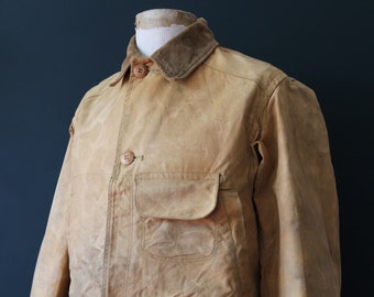 """Vintage 1940s 40s 1950s 50s Duxbak duck cotton canvas tin cloth hunting shooting jacket 44"""" chest workwear work chore"""