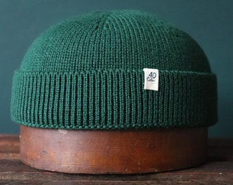 40 Colori 100% wool fisherman's beanie hat watch cap forest green