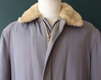 "Vintage 1950s 50s heather dove grey gabardine gab jacket mouton collar rockabilly Talon Conmar zipper quilted 49"" chest"