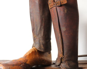 Vintage 1930s 30s french brown leather gaitors leggings spats riding motorcycle military cavalry buckle up dapper