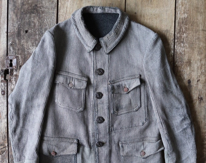 "Featured listing image: Vintage 1920s 20s french grey pique corduroy hunting shooting work jacket xs 36"" chest workwear chore repaired darned"