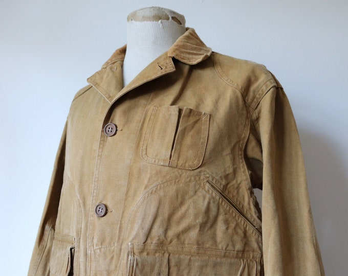"Featured listing image: Vintage 1940s 40s Blue Bill tan brown tin cloth duck cotton canvas hunting jacket 46"" chest work workwear chore shooting waterproof Talon"
