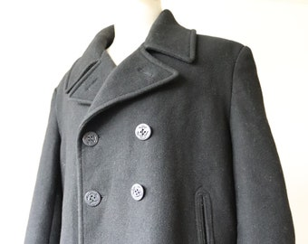 "Vintage US navy USN style black wool pea coat 48"" chest mod military repro double breasted"