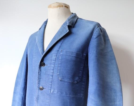 "Vintage 1940s 40s french indigo blue moleskin cutaway sack work jacket workwear chore half belt pleated 40"" chest"