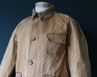 """Vintage 1940s 40s 1950s 50s Duxbak duck cotton canvas tin cloth hunting shooting jacket 49"""" chest workwear work chore"""