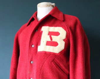"""Vintage 1930s 30s 1940s 40s red fleece WA Holt Butwin varsity college jacket Ivy League rockabilly B chenille patch letterman 43"""" chest"""