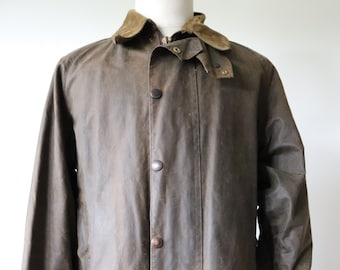 "Vintage 1980s 80s brown Barbour Beaufort waxed cotton jacket walking hiking 47"" chest made in England waterproof"