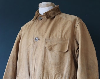 "Vintage 1930s 30s 1940s 40s Mohawk duck cotton canvas work chore hunting jacket workwear 50"" chest XL half belt"