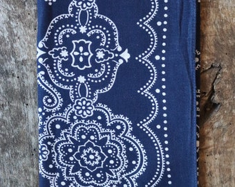 Vintage 1940s 40s indigo blue Elephant brand bandana workwear colour color fast trunk down paisley pocket square