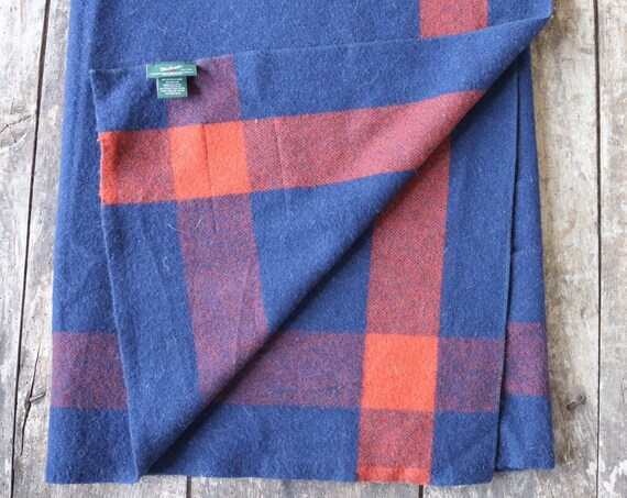 "Vintage blue rust orange Woolrich wool blanket throw sofa bed double 78"" x 65"" camping cabin made in USA"