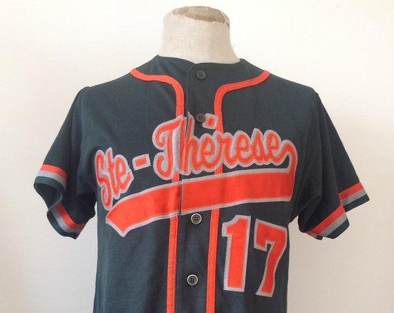 "Vintage dark green orange Ste Therese baseball uniform shirt top made in Canada 40"" chest sportswear"