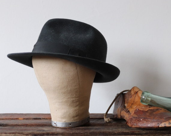 Vintage 1960s 60s french grey rabbit fur felt fedora hat