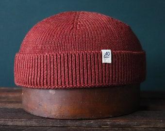 40 Colori 100% knitted wool fisherman's beanie hat watch cap rust brown orange