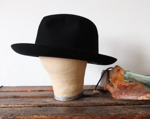 Vintage 1960s 60s french black fur felt Flêchet fedora hat