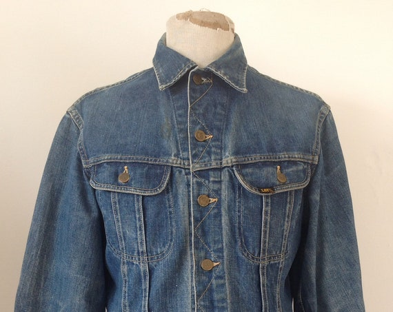 "Vintage 1960s 60s 1970s 70s Lee 101-J denim trucker jacket work workwear chore 42"" chest Union Made sanforized made in USA"