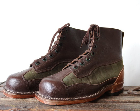 Vintage 1950s 50s Swedish army brown leather green canvas mountain boots military lace up size EUR 41 UK 8 rugged Filson