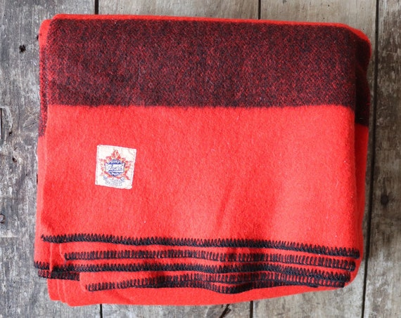 "Vintage 1950s 50s red black wool Ayers king size Canadian Mountie blanket throw bed sofa camping cabin 84"" x 71"""
