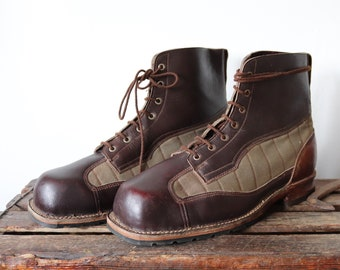 Vintage 1940s 40s WW2 Swedish army brown leather green canvas mountain boots military lace up size EUR 50 UK 16 rugged Filson XL