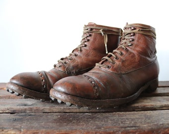 Vintage 1920s 20s Manfield and Sons handmade brown leather veldtshoen brogue hob nail studded sole marching lace up boots UK 7 8 EUR 40 41
