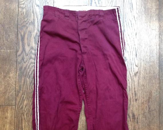"Vintage 1960s 60s burgundy red purple cotton Wilson striped baseball pants trousers button fly sportswear 33"" x 32"""