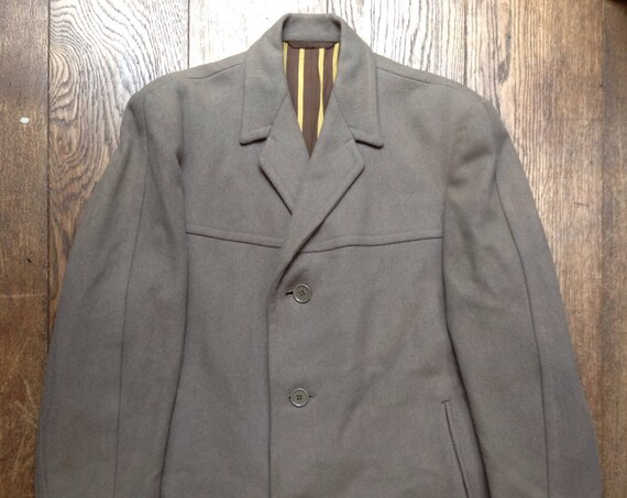 "Vintage 1960s 60s taupe grey brown Weaver Wearer long wool overcoat trench great coat mod Ivy League style 46"" chest"