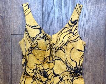 "Vintage 1960s 60s Jantzen vibrant yellow black swimming costume pin up burlesque cheesecake rockabilly 29"" waist UK 10 12"