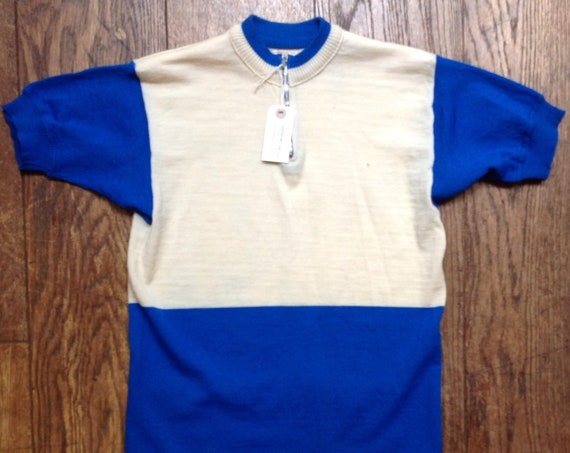 "Vintage 1970s 70s Sergal Italian blue white fine knitted wool cycling top t shirt jersey mod quarter zip 34"" 36"" 38"" chest made in Italy"