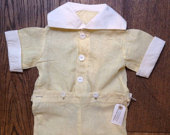 Vintage 1930s 30s 1940s 40s pale yellow cream kids baby linen top shorts set 3 6 9 12 months reenactment rockabilly