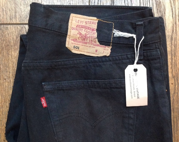 "Vintage Levi Strauss Levis black 501 denim jeans button fly red tab small e workwear made in USA 32"" x 29"""