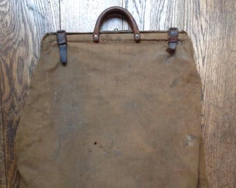 Vintage 1900s early 20th century large French canvas leather laundry bag repaired workwear chore