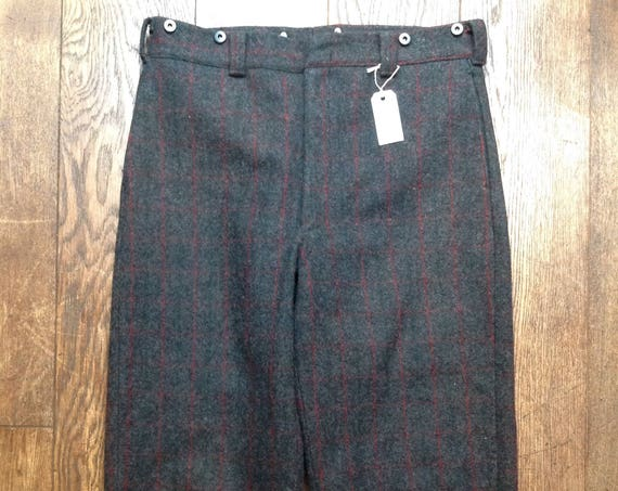 "Vintage grey checked wool Woolrich trousers pants warm winter brace suspender buttons 36"" x 29"""