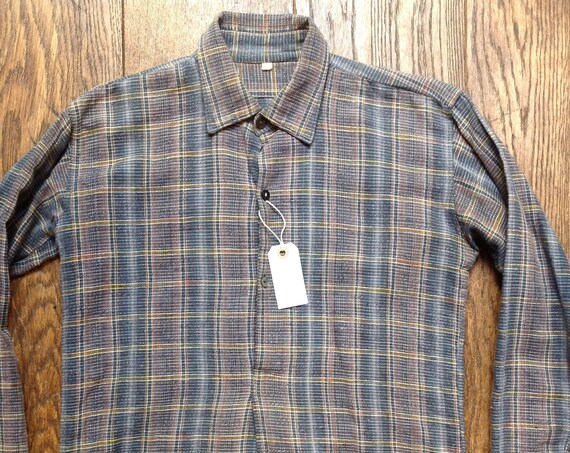 "Vintage grey pink French European cotton flannel checked popover smock work chore shirt workwear 38"" chest"