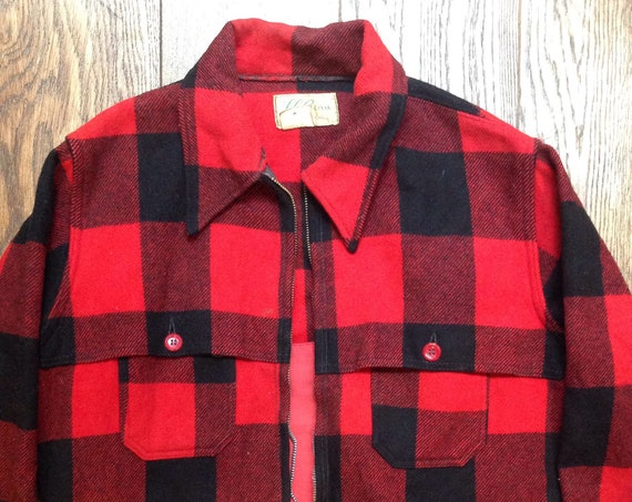 """Vintage 1960s 60s 1970s 70s LL Bean red black checked wool hunting jacket Talon zipper for repair 46"""" chest"""