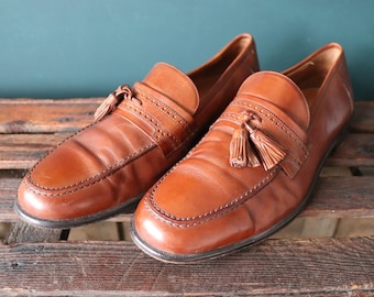 Vintage brown leather tassel loafers Ivy League style mod US 12 made in Italy J Murphy