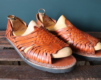 Vintage Mexican brown plaited leather Huarche sandals Huarches Hurrache summer UK 9.5 EUR 44 tyre soles surf beach