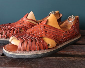 Vintage Mexican brown plaited leather Huarche sandals Huarches Hurrache summer UK 9.5 10 EUR 44 tyre soles surf beach