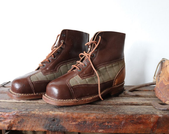 Vintage 1950s 50s Swedish army brown leather green canvas mountain boots military lace up size EUR 40 UK 7 rugged Filson