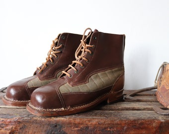 Vintage 1950s 50s Swedish army brown leather green canvas mountain boots military lace up size EUR 44 UK 11 rugged Filson