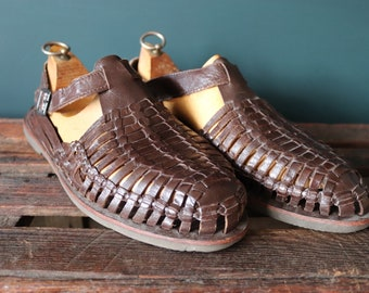 Vintage Mexican brown plaited leather Huarche sandals Huarches Hurrache summer US 12 UK 11.5 12 EUR 47 buckle up surf beach