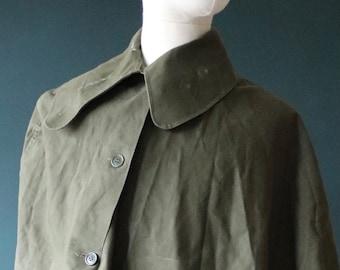 Vintage 1950s 50s khaki green British army military gas cape waterproof poncho walking hiking cycling storm collar