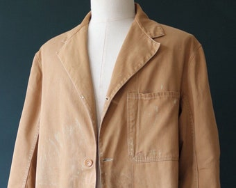 """Vintage 1950s 50s Water Lane Brand British brown cotton twill long work chore jacket shop factory coat workwear change buttons 50"""" chest"""